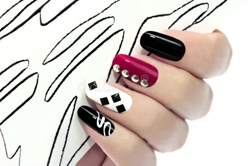 Grafische manicure stock afbeelding