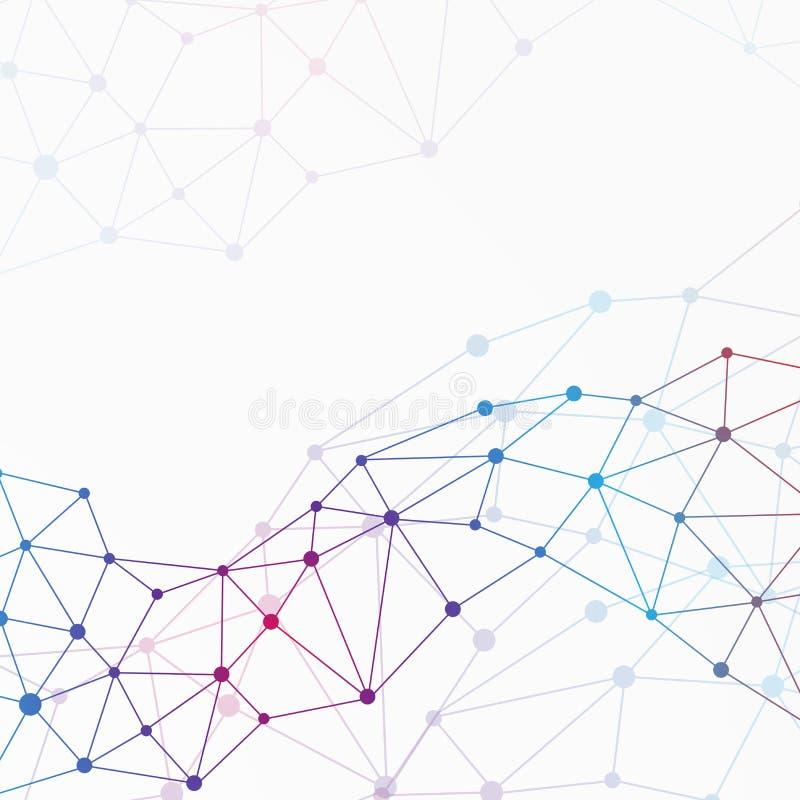 Grafische molecule en mededeling als achtergrond Kleurrijke punten met verbindingen voor uw ontwerp, illustratie royalty-vrije illustratie