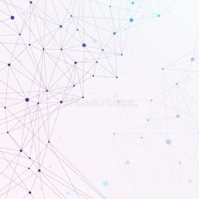 Grafische molecule en mededeling als achtergrond Kleurrijke punten met verbindingen voor uw ontwerp, illustratie vector illustratie
