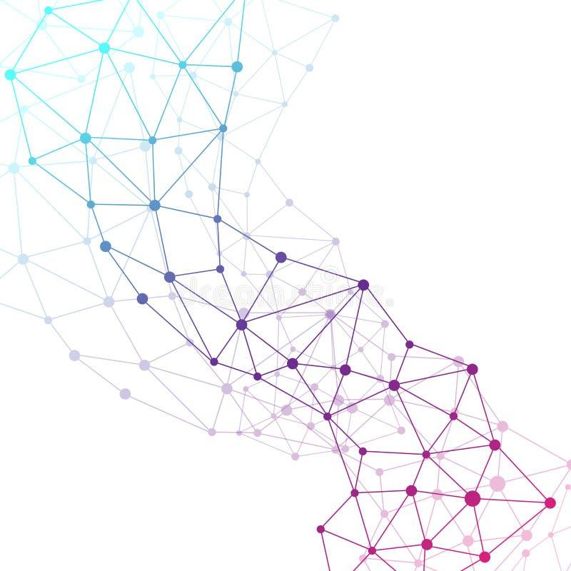 Grafische molecule en mededeling als achtergrond Kleurrijke punten met verbindingen voor uw ontwerp, illustratie stock illustratie