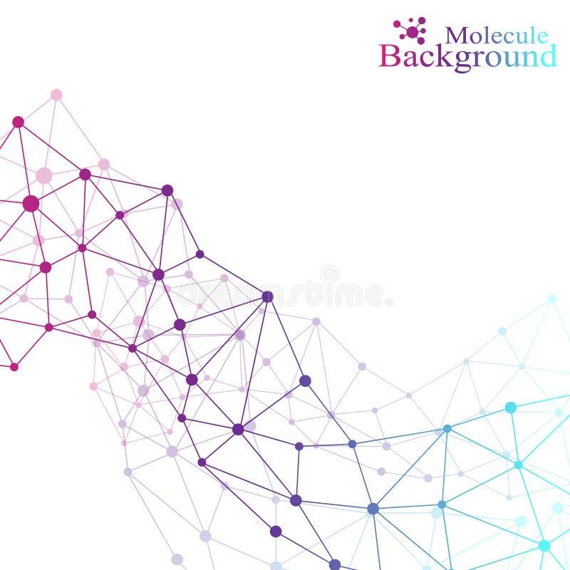 Grafische molecule en mededeling als achtergrond Kleurrijke Punten met verbindingen voor uw ontwerp Vector illustratie royalty-vrije illustratie