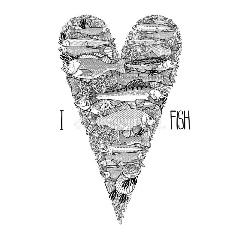 Grafische oceaanvissen in de vorm van hart vector illustratie