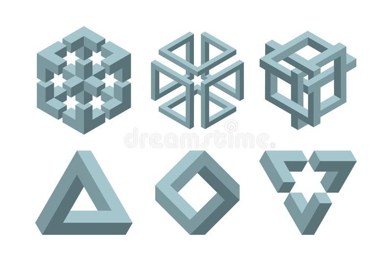 Grafische onmogelijke vormen Cirkel, vierkants en driehoekssymbolen met onmogelijke de meetkunde geometrische grafisch van de esc stock illustratie