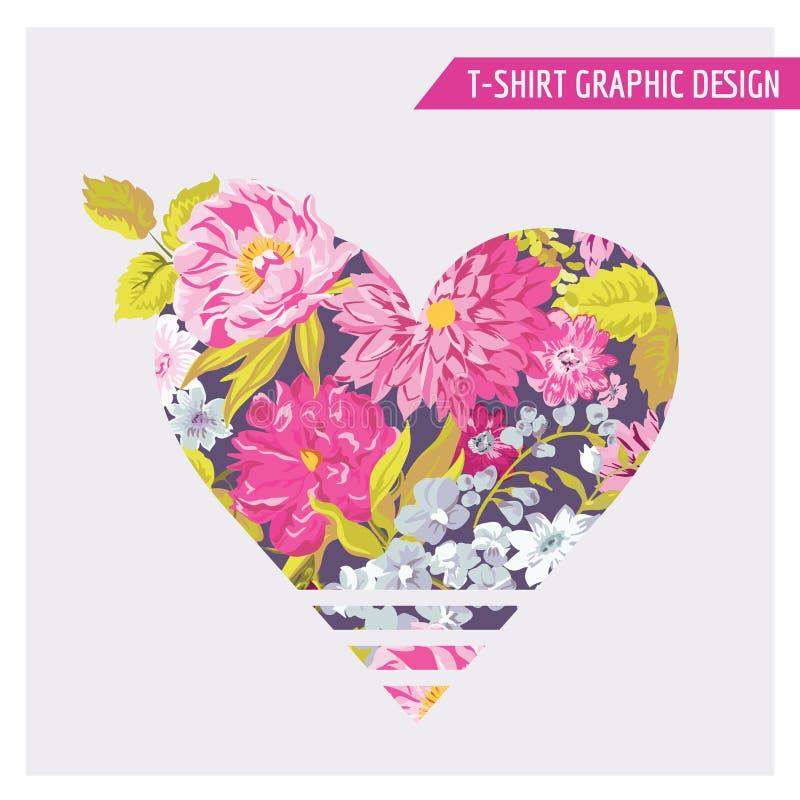 Grafische Ontwerp van het t-shirt het Bloemenhart royalty-vrije illustratie