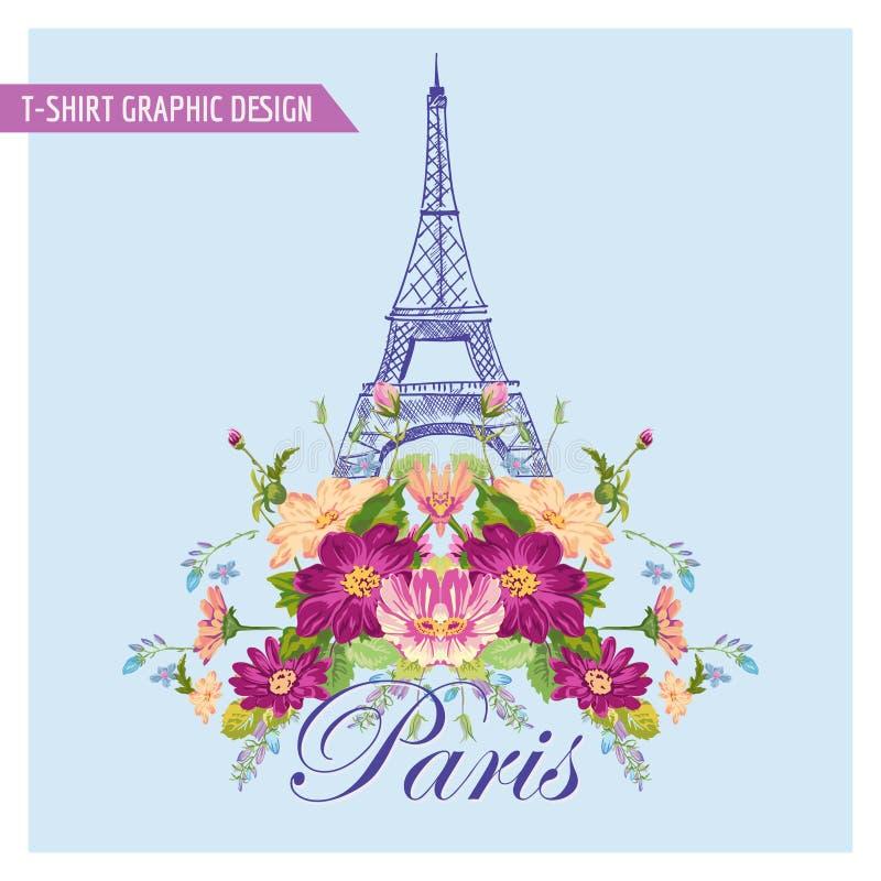 Grafische Ontwerp van t-shirt het Bloemenparijs royalty-vrije illustratie