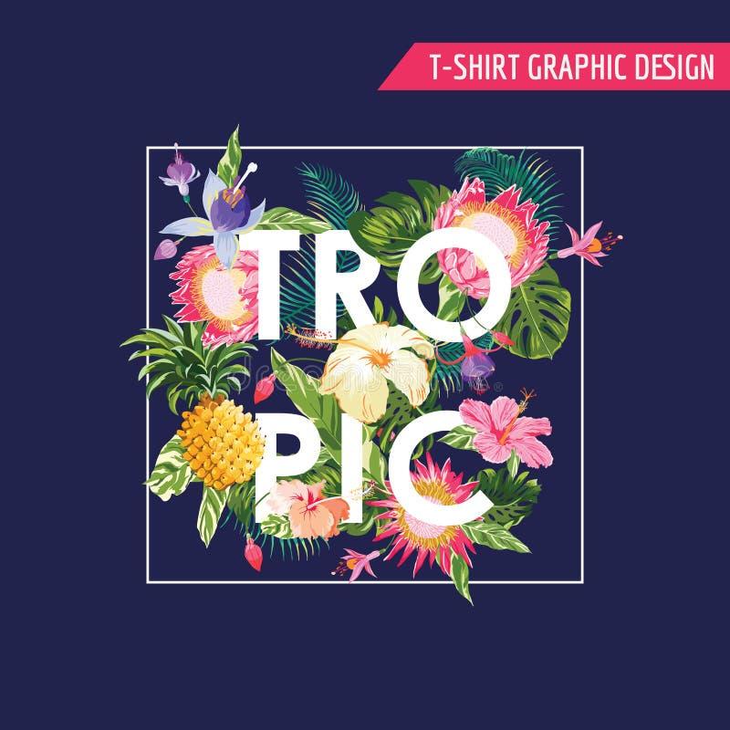 Grafische Ontwerp van t-shirt het Tropische Bloemen vector illustratie
