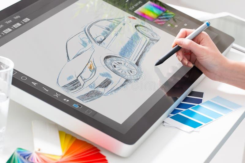 Grafische ontwerper op het werk De steekproeven van de kleur royalty-vrije stock afbeelding
