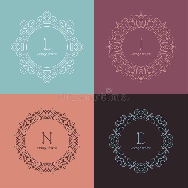 Grafische Ontwerpmalplaatjes voor Embleem, Etiketten en royalty-vrije illustratie