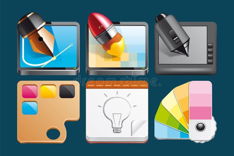 Grafische ontwerppictogrammen stock illustratie