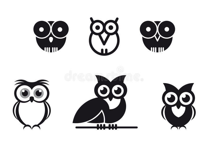 Grafische ontworpen uilen stock illustratie