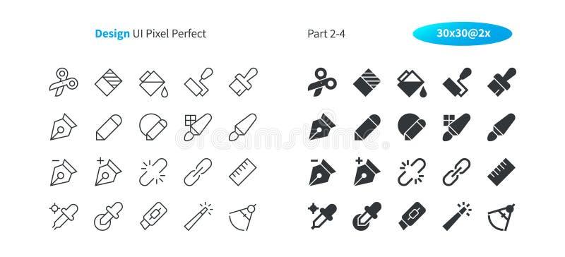 Grafische Perfecte goed-Bewerkte Vector Dunne Lijn en Stevige Pictogrammen 30 van het Ontwerpui Pixel 2x Net voor Webgrafiek en A vector illustratie