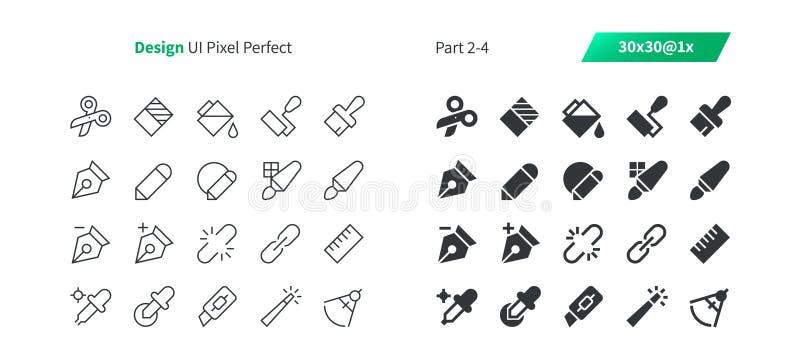 Grafische Perfecte goed-Bewerkte Vector Dunne Lijn en Stevige Pictogrammen 30 van het Ontwerpui Pixel 1x Net voor Webgrafiek en A stock illustratie