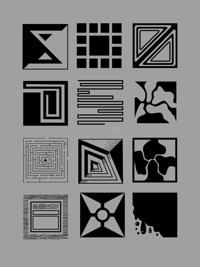 Grafische reeks met abstracte cijfers aangaande grijze achtergrond stock illustratie