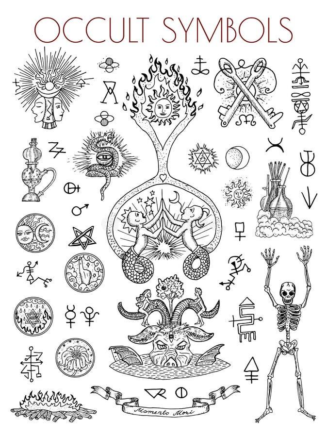 Grafische reeks met esoterische symbolen en illustraties royalty-vrije illustratie