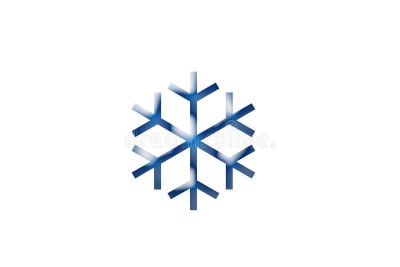 Grafische Ressource der eisigen kalten blauen Winterschnee-Flocke auf weißem Hintergrund lizenzfreie stockfotos