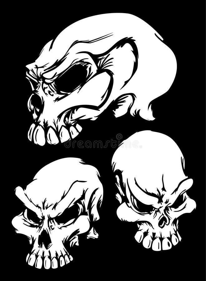 Grafische Schädel-Bilder auf schwarzem Vektor lizenzfreie abbildung