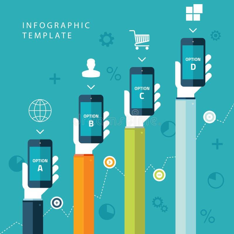 Grafische Schablone der Informationen mit den Händen, die Telefone für Vermarktungsplan, Verkaufsdiagramm halten stock abbildung