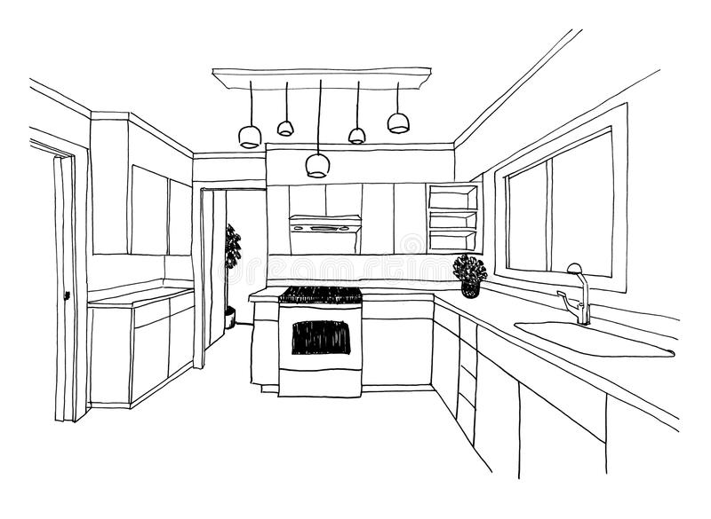 Grafische schets, de keuken stock illustratie