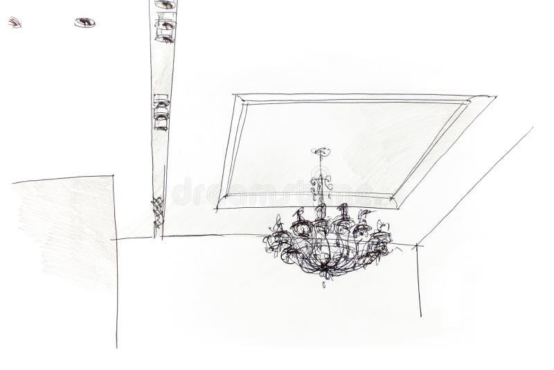 Grafische schets door potlood van variant voor plafondlicht royalty-vrije illustratie