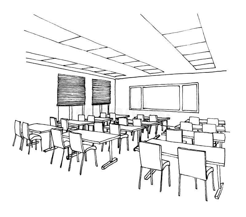 Grafische schets van een binnenlands klaslokaal royalty-vrije illustratie