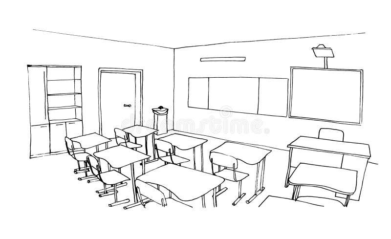 Grafische schets van een binnenlands klaslokaal stock illustratie