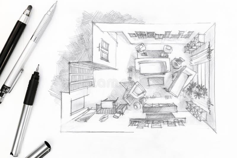 Grafische schets van een binnenlandse woonkamer met pen en potloden stock afbeeldingen