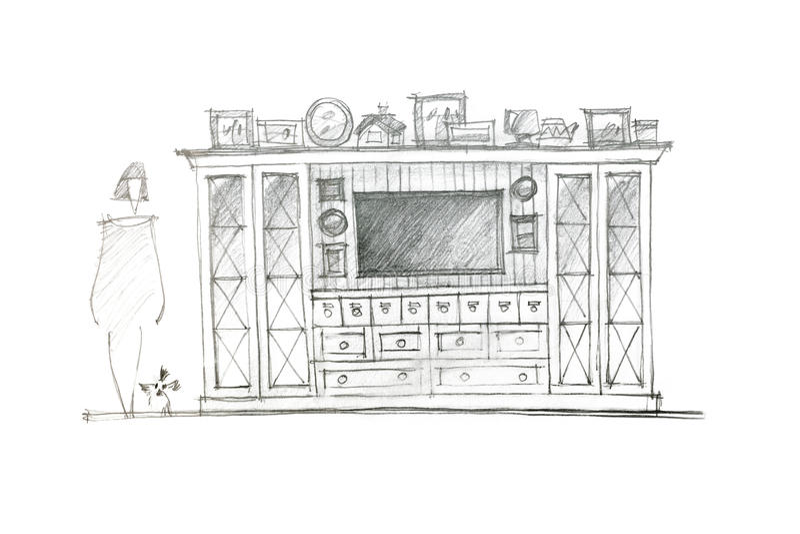 Grafische schets van een vermaakmuur voor woonkamerinteri royalty-vrije illustratie