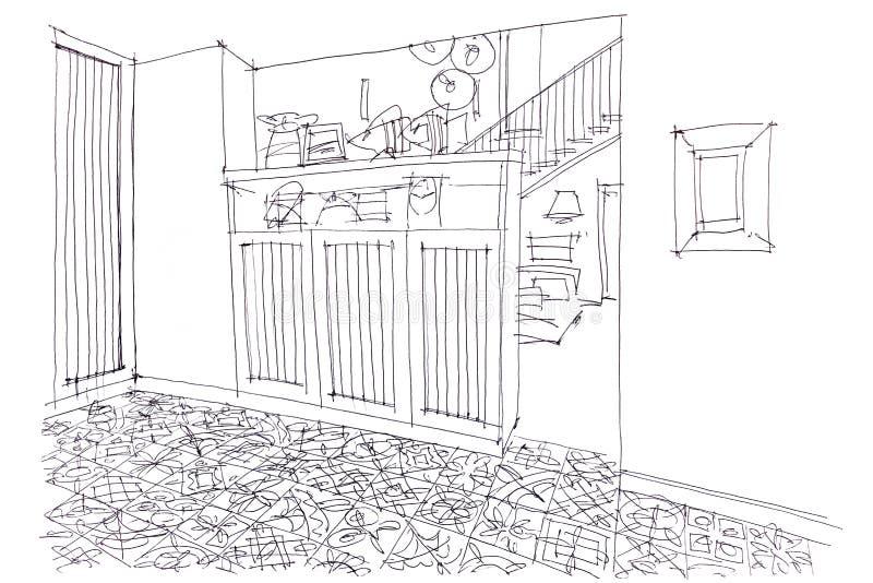 Grafische schets van woonkamer binnenlands ontwerp met meubilair royalty-vrije illustratie