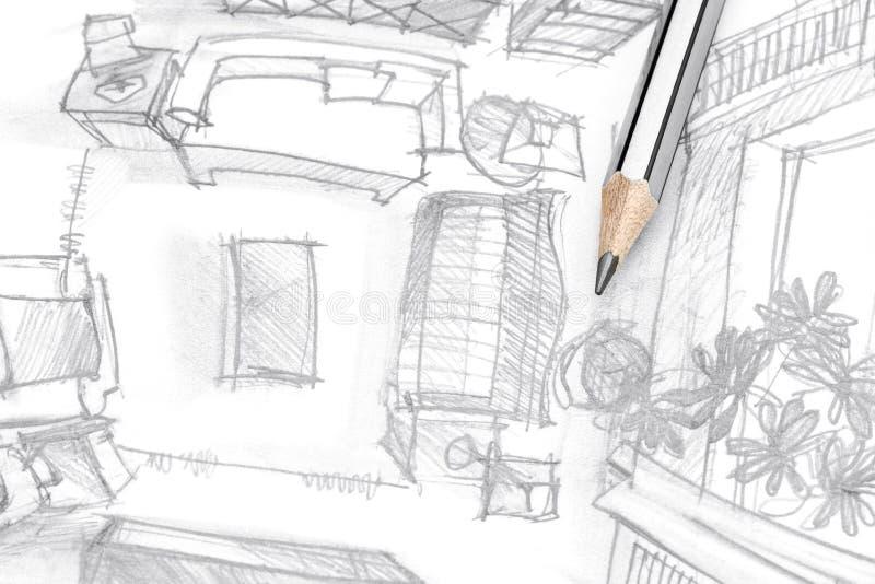 Grafische schets van woonkamermeubilair met potlood, hoogste mening stock foto's