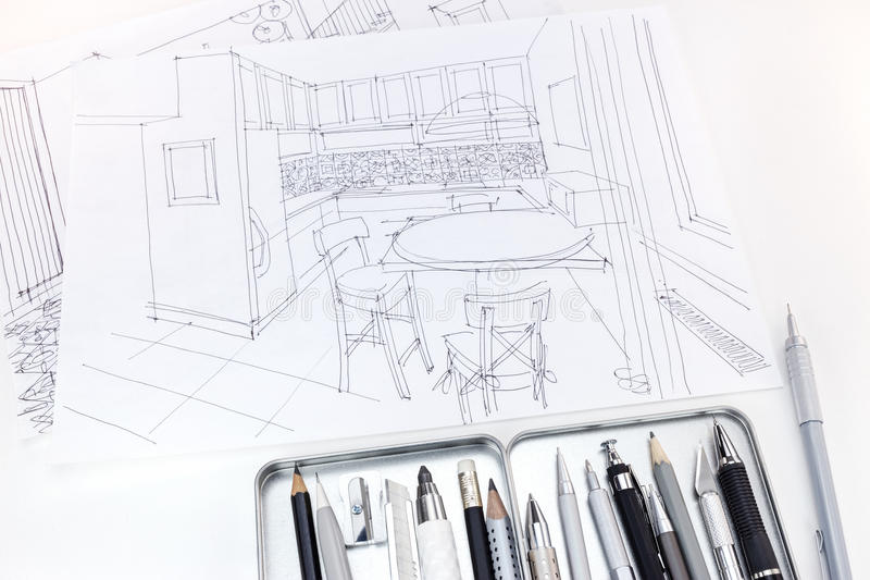 Grafische schetsen van modern keukenbinnenland met tekeningshulpmiddelen stock foto