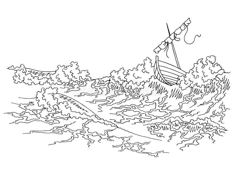 Grafische schwarze weiße Skizzenillustration des Sturmseebootes vektor abbildung