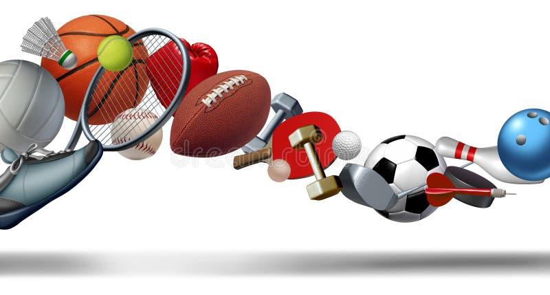 Grafische sporten en de werveling van het sportmateriaal stock illustratie