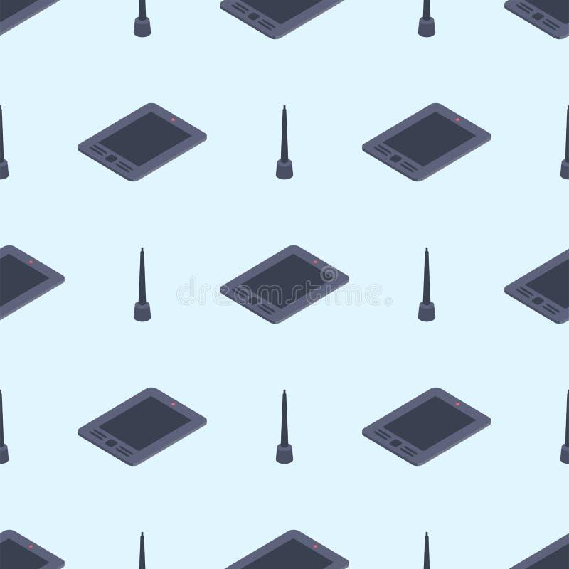 Grafische tablet met pen voor illustratoren en ontwerpers de naadloze vectorachtergrond van de patroon digitale technologie stock illustratie