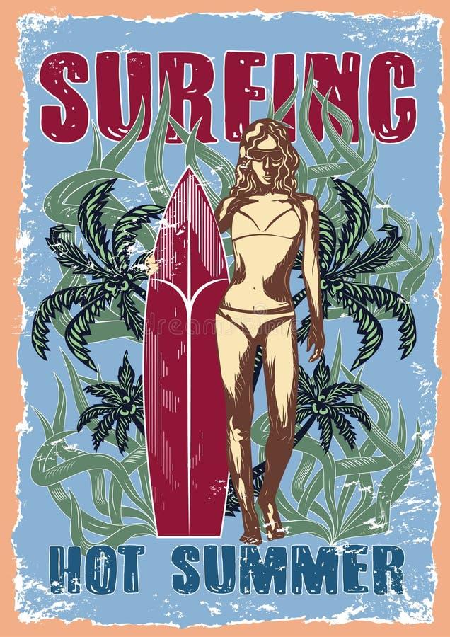 Grafische tekeningenillustratie van surfer royalty-vrije stock foto's