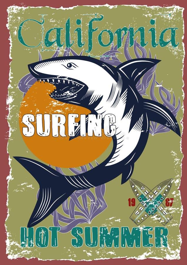 Grafische tekeningenillustratie van surfer royalty-vrije stock foto