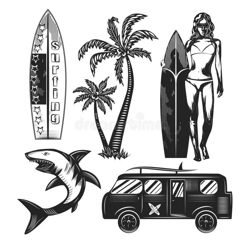 Grafische tekeningenillustratie van surfer stock afbeeldingen