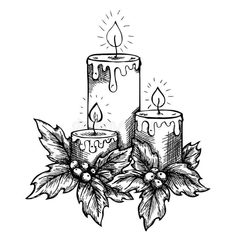 Grafische tekeningskaarsen en hulstbessen en bladeren. schetspen uit de vrije hand en inkt royalty-vrije illustratie