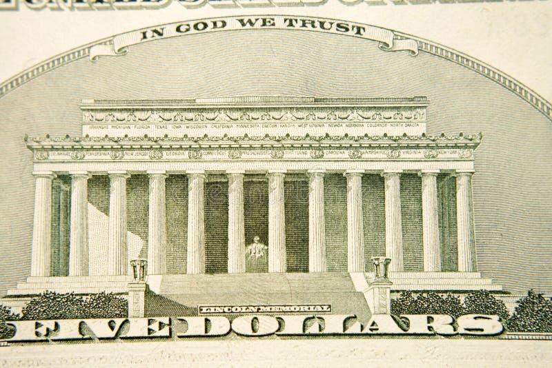 Grafische USD vijf dollarrekening stock afbeelding