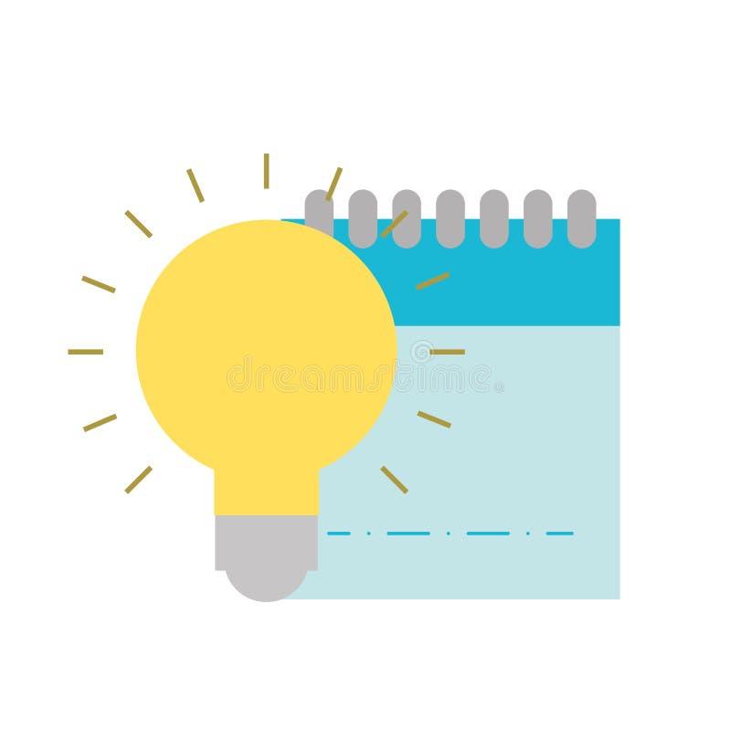 Grafische van de ontwerpblocnote en bol ideecreativiteit vector illustratie