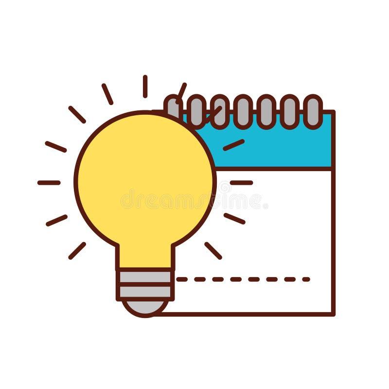 Grafische van de ontwerpblocnote en bol ideecreativiteit stock illustratie