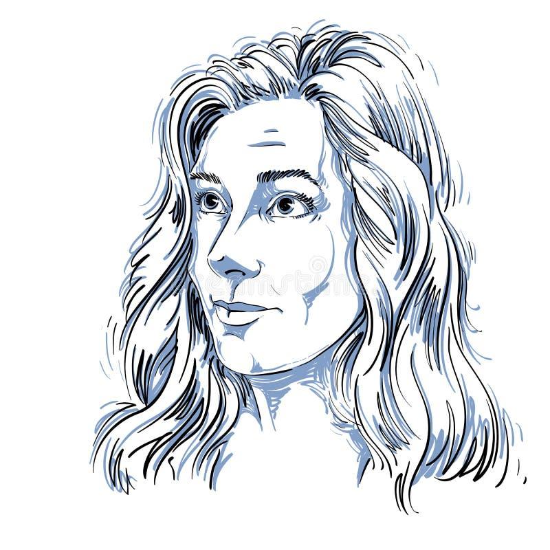 Grafische vector hand-drawn aantrekkelijke illustratie van witte huid stock illustratie