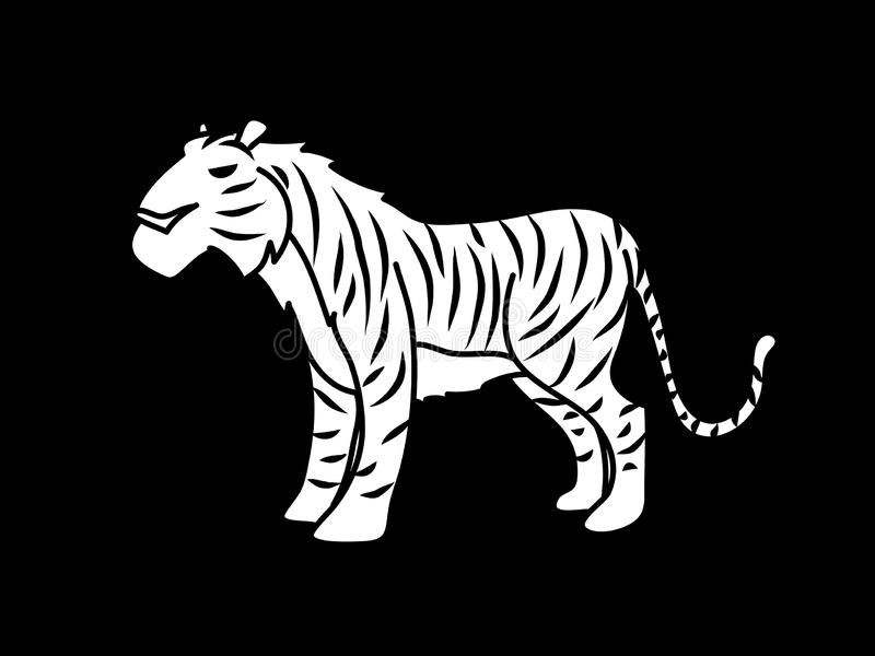 Grafische vector van de tijger de bevindende illustratie stock illustratie