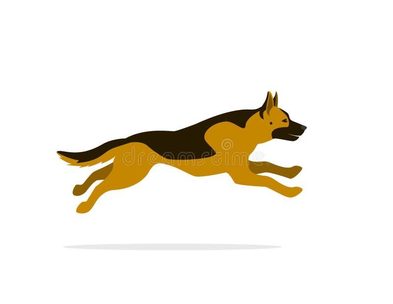 Grafische vector van het Duitse herder de lopende beeldverhaal vector illustratie
