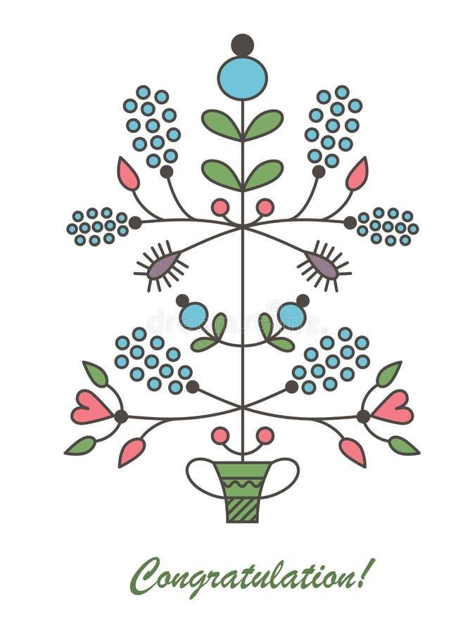 Grafische vectorbloemen in bloempot royalty-vrije illustratie