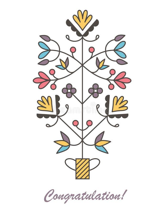 Grafische vectorbloemen in bloempot stock illustratie