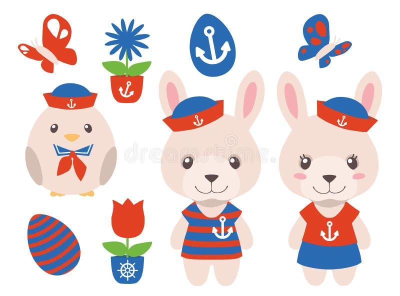 Grafische Vektorsammlung Karikatur-See-Ostern mit männlichem und weiblichem Häschen und Chic in der roten und blauen nautischklei lizenzfreie abbildung