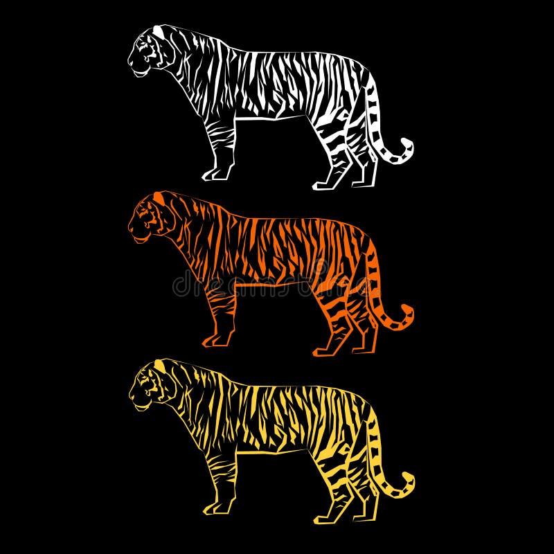 Grafische wild van het de sterktezoogdier van de tijger het wilde illustratie stock illustratie
