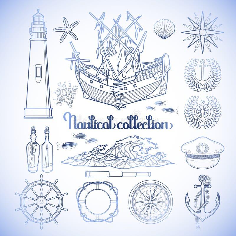 Grafische zeevaartinzameling royalty-vrije illustratie