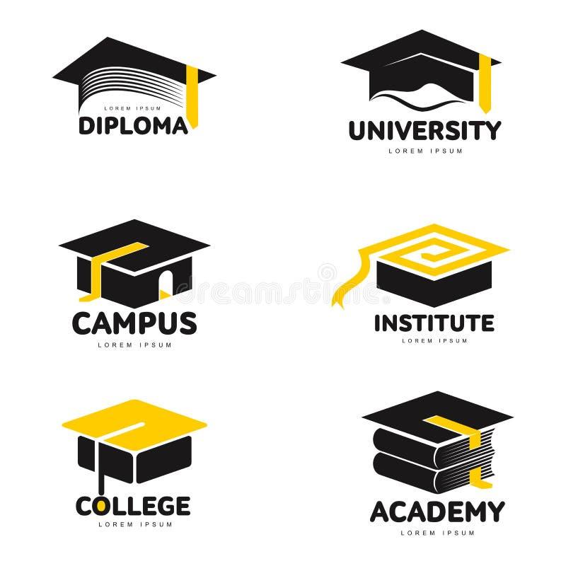 Grafische, zwart-witte vierkante academisch, de malplaatjes van het graduatieglb embleem royalty-vrije illustratie