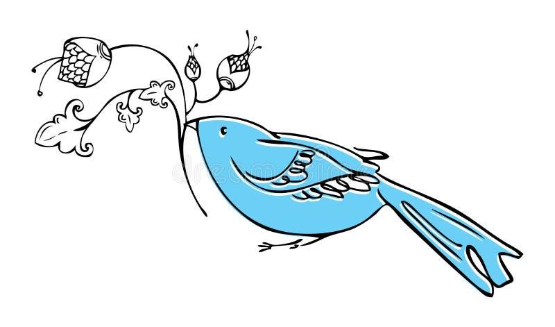 Grafischer dekorativer Vogel, der eine Niederlassung der Blume hält vektor abbildung